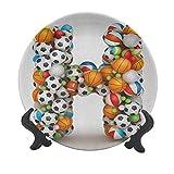 Placa decorativa de cerámica con letra H de 20,32 cm, con letra H, apilada de bolas de juego, alfabeto de deportes, competición, actividad, plato de cerámica decorativo para mesa de Navidad