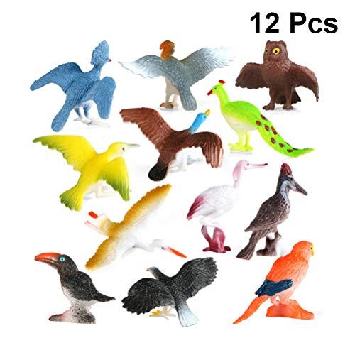 TOYANDONA 12 Piezas de Figuras de Aves en Miniatura Simulación de Animales Salvajes Modelo de Juguetes de Escritorio Adorno de Jardín de Hadas Decoración para Niños Regalos Educativos Patrón Mixto