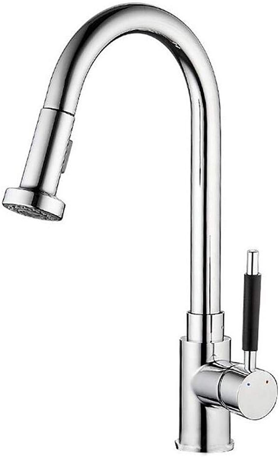 Bathroom Kitchen Sink Faucet,Silver Modern Design Creative Pull-Out 360 Degree Single Handle Cold and Hot Mixing Faucet.