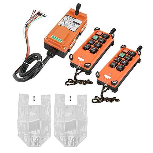 Remote Control, Wireless Electric Hoist Button Switch Hoist Remote Control, 2 Transmitter + 1 Receiver for Bridge Crane/Overhead Crane Industrial Control