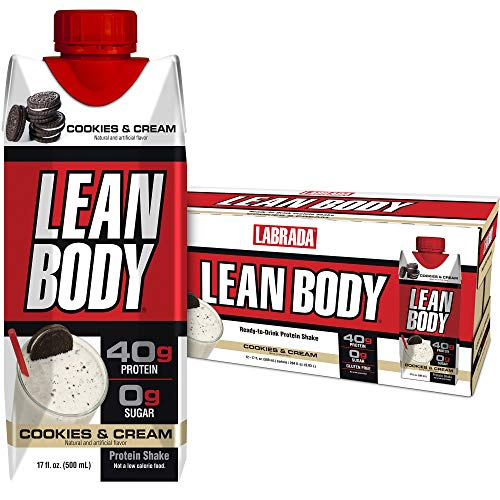 Lean Body Ready-to-Drink Cookies and Cream Protein Shake, 40g Protein, Whey Blend , 0 Sugar, Gluten Free, 22 Vitamins & Minerals, (Recyclable Carton & Lid - Pack of 12) LABRADA