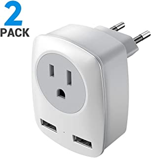 European Plug Adapter, 2 Pack US to Europe International Travel Plug European Adapter, Plug Type C Adapter with 2 USB Ports for Italy, Germany, France, Greece
