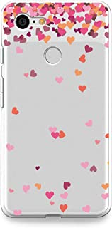 Google Pixel 3 (2018) Case, CasesByLorraine Little Pink Hearts Clear Transparent Case Flexible TPU Soft Gel Protective Cover for Google Pixel 3 (A17)