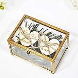 Caja de joyería rectangular de cobre, caja de anillo de boda de vidrio, caja de portador de anillo de boda personalizada con corazón, caja de soporte de anillo de boda