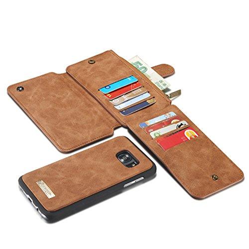 JIADUOBAO-S - Funda de piel con tapa magnética y tarjetero para Samsung Galaxy S7 Edge 2 en 1 (color: marrón)