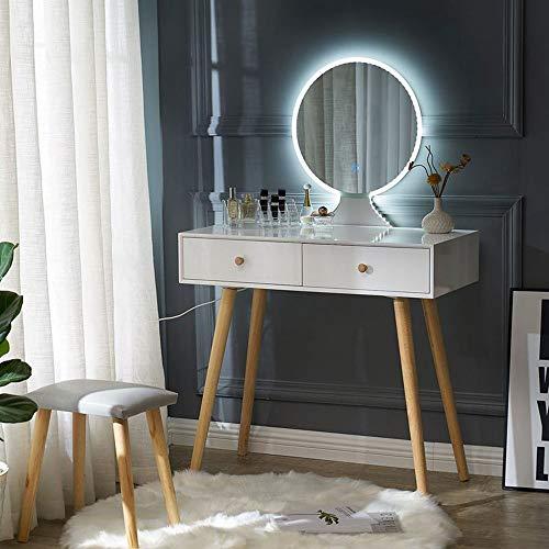 Mirror Make-up tabel, Modern hout kaptafel met lade en Stoel, verstelbaar en eenvoudig te monteren, voor de woonkamer en slaapkamer,Round