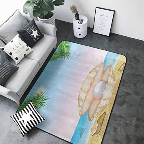 Soft Area Children Baby Playmats Pearls Decoration,Pearl in Big Shell On Tropic Sandy Beach Sun Rays and Trees Exotic Unique Creature,Cream Blue 80 x 58 in Contemporary Indoor Area Rugs