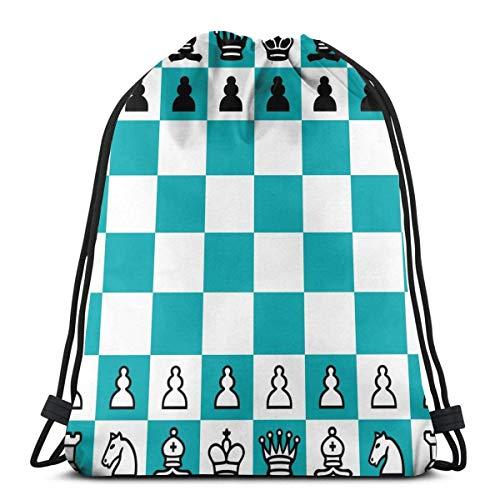 Bingyingne Juego de mesa Pieza de ajedrez Mochila con cordón Saco de gimnasio Bolsa de cincha Bolsa de cuerda