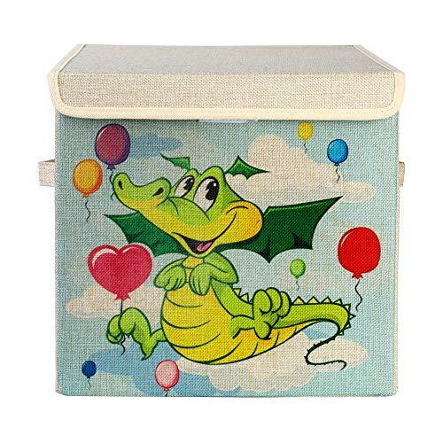 Wasserij Mand met Deksel, Baby Wasserij Mand, Dinosaur Cartoon Opbergdoos, Karton Opbergdoos, Geschikt voor een verscheidenheid van gelegenheden zoals Slaapkamer