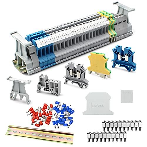suaywo Kit di Morsetti per guida DIN Kit di Morsettiere su Guida DIN UK-2.5B Adatto per l'automazione Della Produzione Fai-da-te, Trasformazione di Circuiti ecc