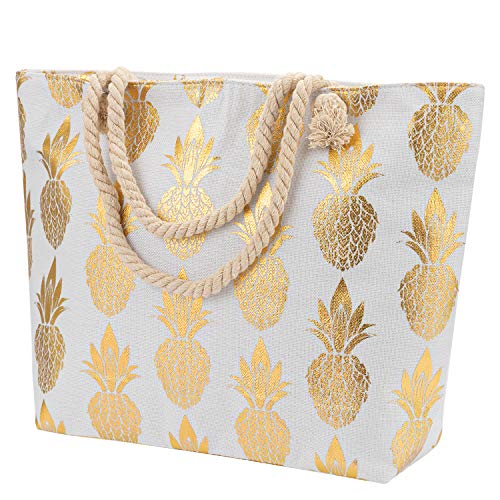Large Gold Pineapple Print Canvas Tote Bag, Inner Zipper Pocket, Women Shoulder Handbag with Rope Handles for Shopping Holiday Work Beach Travel