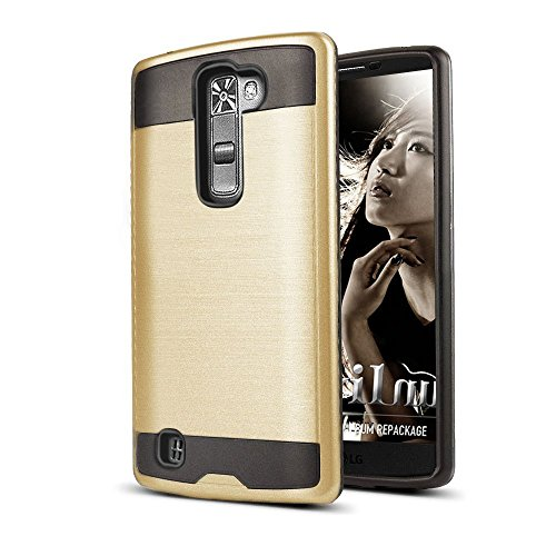 LG K7 / Tribute 5 Case, MobileCentral [Brushed Metal Texture] Hybrid Dual Armor Protection and Rugged Skin Cover with Stylus Pen for LG K7 / Tribute 5 (GOLD CHROME)