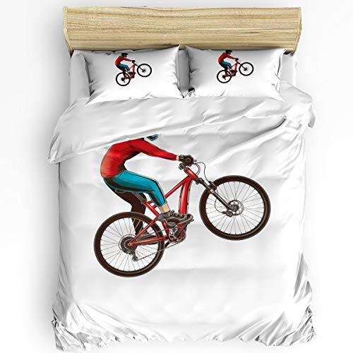 Prime Leader Bedding Duvet Cover King 4 Piece Set, Mountain Bike Duvet Cover Set, Ultra Soft Microfiber Breathable Comforter Cover Set for Kids Adults Bedroom(Zipper Closure)