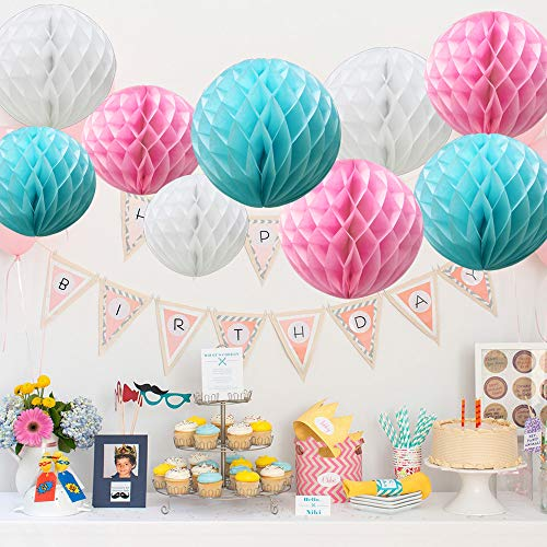 Time to Sparkle TtS 9 Pack Mixed Honeycomb Balls Table Centrepiece Garland Tissue Paper Wedding Party Decoration (Pink Blue)