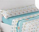 ok Juego de sábanas Verano Microfibra TRIX, Cama 90 x 190/200 cm (Azul)