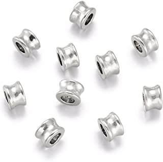 Fashewelry 20Pcs Antique Silver Large Hole European Tube Spacer Beads 8x5.5mm Lead Free & Cadmium Free Metal Charm Beads for DIY Jewelry Craft Making