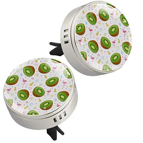 Z&Q 2 Piezas Clip de ventilación de Aromaterapia Verano Fruta Kiwi Flamingo difusor del Aceite Esencial del Aire del Coche para Coche Sala de Estar Oficina con 4 Estera 33.8mmX46.4mm
