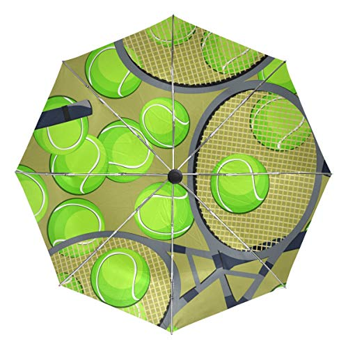 Paraguas de Viaje pequeño a Prueba de Viento al Aire Libre Lluvia Sol UV Auto Compacto 3 Pliegues Cubierta de Paraguas - patrón sin Costuras Raqueta de Pelotas de Tenis