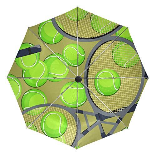 Ombrello da viaggio piccolo Antivento da esterno per pioggia Sun UV Auto Compatto 3 pieghe Ombrelli Cover - Modello senza cuciture Palline da tennis Racchetta