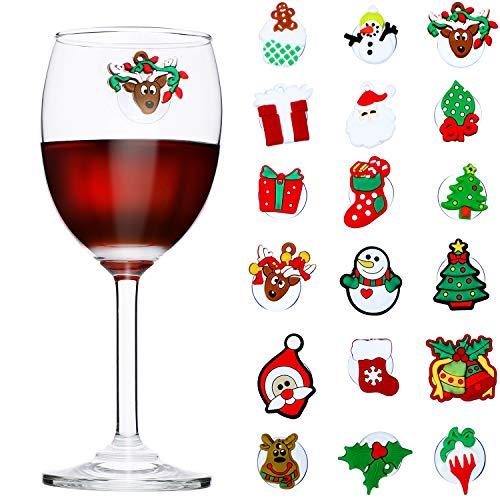 18 Stücke Weihnachten Weinglas Charms Cocktail Getränk Marker mit Saugnapf Cocktail Charms für Weihnachtsfeier Lieferungen