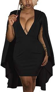 mamak Womens Sexy Deep V Neck Cape Bodycon Short Mini Dress Clubwear Plus Size