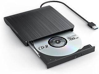 Excuty USB3.0 外付け DVD ドライブ(最新版) DVD プレイヤー ポータブルドライブ CD/DVD読取・書込 薄型ポータブル 高速 静音 DVD±RW CD-RW USB3.0/2.0 Window/Mac OS対応