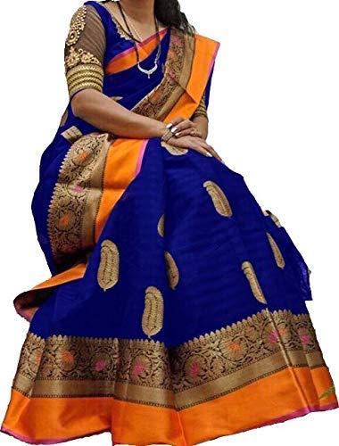 Shyam Export Women's Beauty Beautiful Khadi Silk Bhagalpuri Saree with Blouse Piece (Blue)