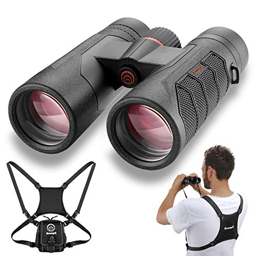 10x42 Utra-HD Binoculars for Adults with Harness - Waterproof Binoculars for Hunting Bird Watching - 24mm Large View Eyepiece, Edge-to-Edge Clarity, Lightweight Magnesium Chassis, BAK-4 Prism