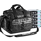 Fishing Tackle Bag Tackle Box Fishing Bag with 5 Trays Water Resistant Fishing Gear Storage Bag with Rod Holder for Freshwater and Saltwater Standard Incognito Camouflage Trays