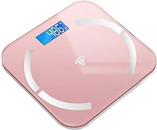 Báscula de baño digital Escala electrónica inteligente, pantalla LED, puede medir temperatura ambiental, se puede utilizar for la Medición de Peso báscula peso corporal (Color : A)