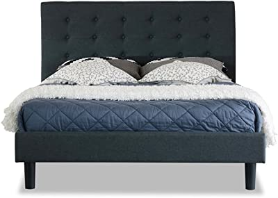 Istyle Alexis Button King Single Bed Frame Fabric Charcoal