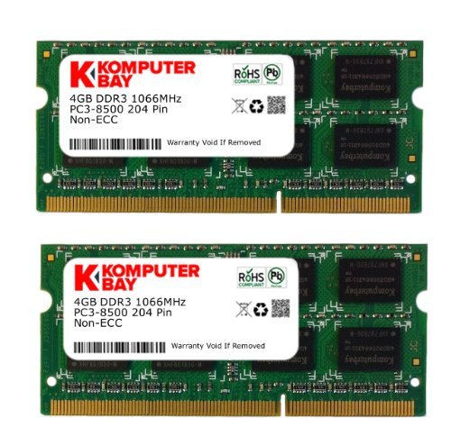 Komputerbay 8GB (2x 4GB) DDR3 SODIMM (204 pin) realizzato con semiconduttori Hynix 1066Mhz PC3 8500 per Apple 8 GB (7-7-7-20)