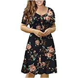 Vestido de verano para mujer, elegante, para verano, manga corta, cuello redondo, vestido de talla grande, elegante, estilo vintage, étnico, vestido suelto, talla Reino Unido