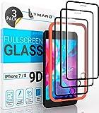 [3 Stück] LYMANO Panzer-Folie Glas Full Screen für iPhone 7 iPhone 8 Bildschirm-Schutzfolie Schutzglas Glass Protector [Anti Kratzer] [Blasenfrei] [Komplett Abdeckung] (4,7 Zoll) Schwarz (Black)