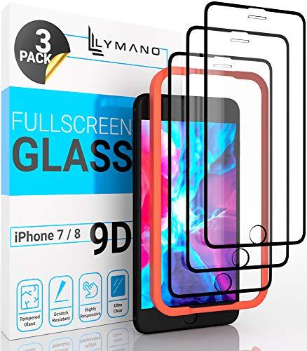 [3 Stück] LYMANO Panzer-Folie Glas Full Screen für iPhone 7 iPhone 8 Display-Schutzfolie Schutzglas Glass Protector [Anti Kratzer] [Blasenfrei] [Komplett Abdeckung] (4,7 Zoll) Schwarz (Black)