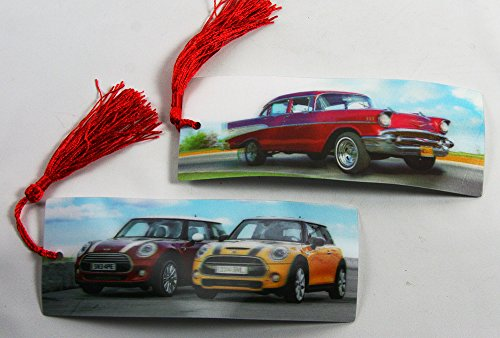 2 Bookmarks - 3D Lenticular - AUTOS - Vintage Chevy and Mini Coopers with Tassles