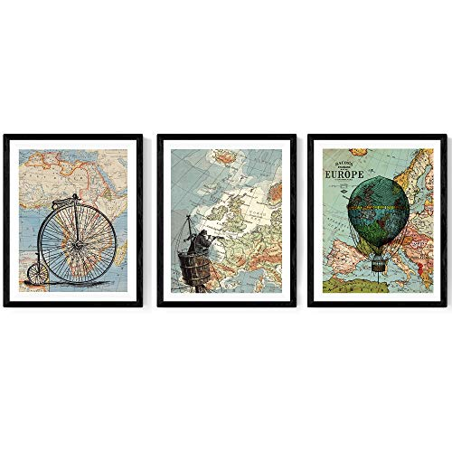 Nacnic Pack de láminas para enmarcar Viajando por EL Mundo