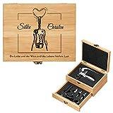 Murrano Weinöffner-Set personalisiert Weinset Sommelier Set - Geschenkbox Holzbox + 8er Weinzubehörset - aus Bambus - Braun - Geschenk Hochzeit Hochzeitstag Paar - Flaschenöffner
