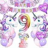 9 AñoUnicornio Decoración Cumpleaños Niña,specool Globos Fiesta Decoracion Cumpleaños Niña con Enorme Globo Unicornio 3D,Banner Feliz Cumpleaños,Cake Topper para decoración de cumpleaños niña