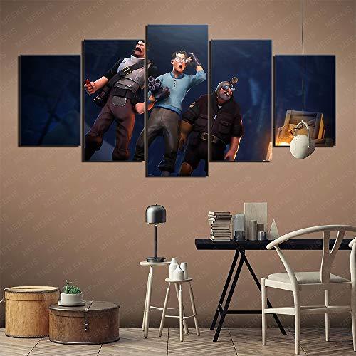 GBxebenYN02 Cafe Restaurant Team Fortress 2 Wallpaper 5 Fünfteiliges Leinwandbild Kunstbild 150x80cm Rahmenloses Gemälde