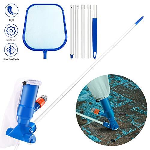 Gafild Pool Reinigungsset mit Kescher, Teleskopstange und Pool Vakuumkopf, Cleaning Kit Pool Zubehör für Schwimmbad, Teich, Whirlpools Wird in Teichen Verwendet