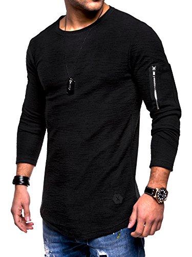 Rello & Reese Herren Oversize Sweatshirt Pullover Hoodie MT-7310 [Schwarz, M]