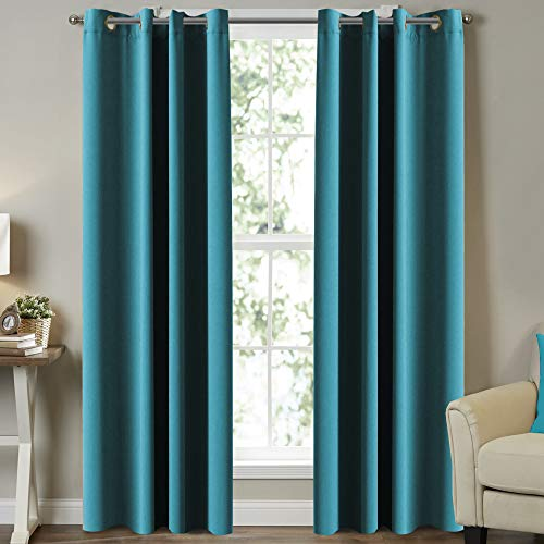 """Blackout Curtains Thermal Insulated Solid Grommet Blackout Drapes, Window Treatment Solid Grommet Blackout Panels/Drapes for Nursery & Infant Care Curtains,2 Panel, Teal, 52"""" W x 84"""" L"""