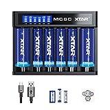 Cargador Pilas Universal 6 Bay XTAR MC6C 18650 Cargador batería con Pantalla LCD para 16340 18350 18700 21700 26650 Batería con Puerto Micro USB y CC para baterías de Linterna 18650