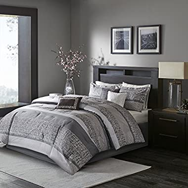 Madison Park Rhapsody Queen Size Bed Comforter Set Bed In A Bag - Grey, Striped – 7 Pieces Bedding Sets – Ultra Soft Microfiber Bedroom Comforters