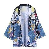 Yowablo Jacke Top Bluse Sommer Japanische Fünf-Punkt-Ärmel Kimono Herren- und Damenumhang (XXL,2Blau)