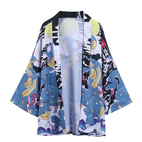 Yue668 Manteau Kimono à Manches Sept-Quarts Imprimé Python à Neuf Têtes, Été Japonais à Cinq Points Manches Kimono Manteau Veste Haut Blouse