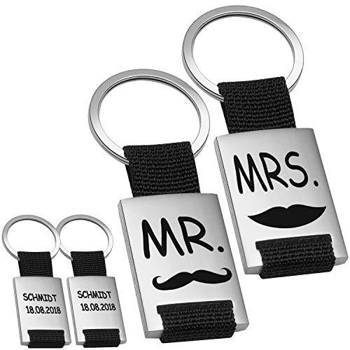 Schlüsselanhänger – Mr. & Mrs. (Schwarz) – persönliche Schlüsselanhänger mit Gravur für Paare – personalisiert mit Familienname – Geschenk zur Hochzeit I Geschenk zum Hochzeitstag für Ehepaare