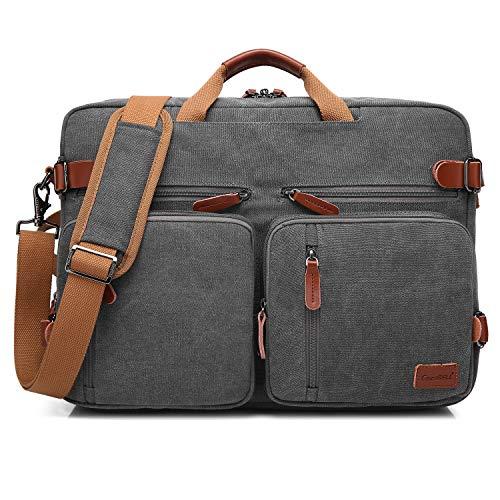 CoolBELL Convertible Rucksack Messenger Bag Schultertasche Laptop Tasche Handtasche Business Aktentasche Multifunktions Reise Rucksack Passt 17,3 Zoll Laptop für Herren/Damen (Canvas Dunkelgrau)