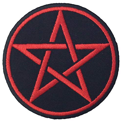 Goth Pagan Symbols Pentagram Patch Embroidered Appique Iron On Sew On Emblem